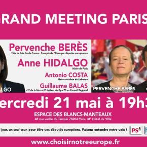 Grand meeting parisien ce 21 mai avec Anne Hidalgo, Pervenche Berès et GuillaumeBalas