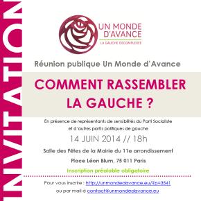 Participez à la réunion publique Un Monde d'Avance «Comment rassembler la Gauche?»