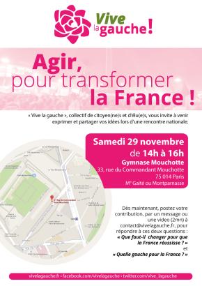 Rencontre nationale Vive La Gauche le 29 novembre àParis
