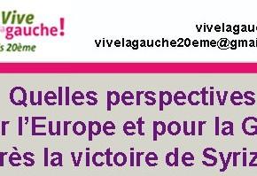 Meeting «Quelles perspectives pour l'Europe et la Grèce après la victoire de Syriza?»