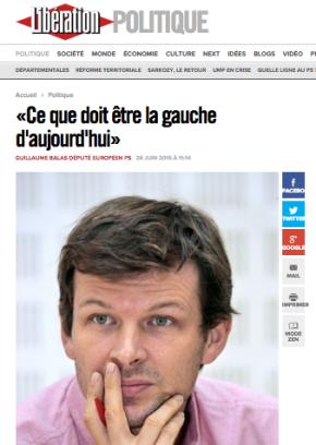 Ma tribune dans Libération «Ce que doit être la gauche d'aujourd'hui»