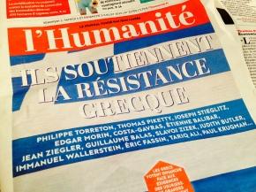 #Greferendum : «J'espère la victoire du non» – Texte de soutien dans l'Humanité Dimanche